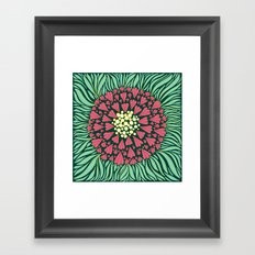 Pink and green florals Framed Art Print