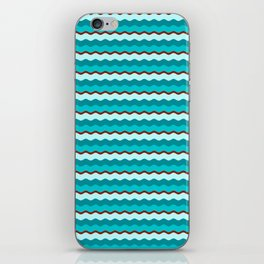 Cyan and Red Wiggle Line Pattern iPhone Skin