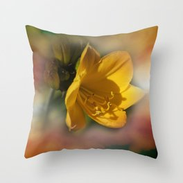 a yellow sign of spring Throw Pillow