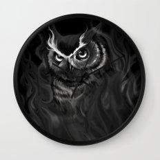Owl Aflame Wall Clock