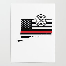 Connecticut Firefighter Shield Thin Red Line Flag Poster