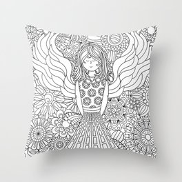 With Angel Wings She Soars (No Quote) Throw Pillow