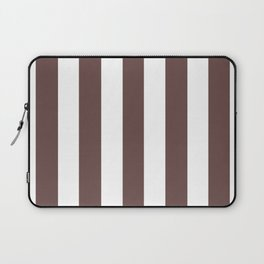 Rose ebony purple - solid color - white vertical lines pattern Laptop Sleeve