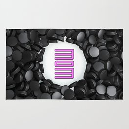 Hockey Mom / 3D render of hundreds of hockey pucks framing Mom text Rug