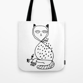 Graphic black white line art cat Tote Bag