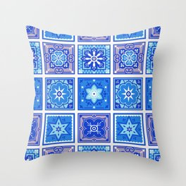 Talavera Mexican Tile – Blue Palette Throw Pillow