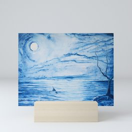 Full moon over shallow water Mini Art Print