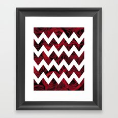 Red Rose Chevron Framed Art Print