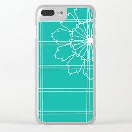 Turqoise striped with flower Clear iPhone Case