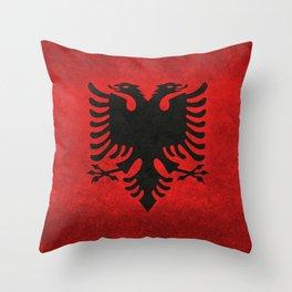 Albanian Flag in Vintage Retro Style Throw Pillow