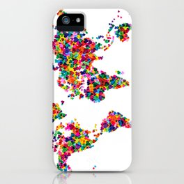 Love Hearts Map of the World Map iPhone Case