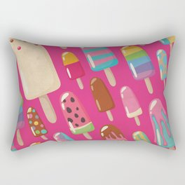 A Rainbow of Popsicles on Magenta Rectangular Pillow