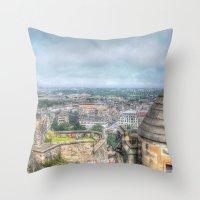 edinburgh Throw Pillows featuring Edinburgh Castle by Christine Workman