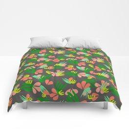Henri's Garden in gray // tropical flora pattern Comforters