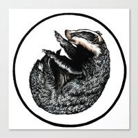 badger Canvas Prints featuring Badger by Natalie Toms Illustration