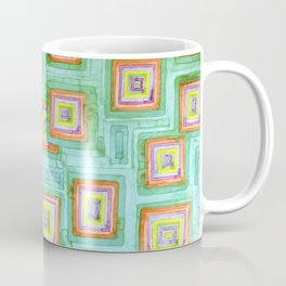 Multicolored Squares on Green Pattern  Coffee Mug