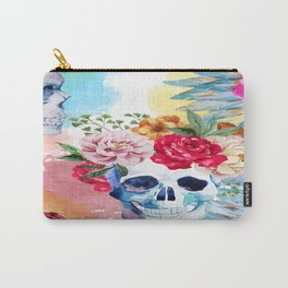 Watercolor Floral Skulls Carry-All Pouch