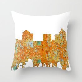 Greensboro, NC Skyline - Rust Throw Pillow