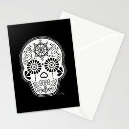 Día de Muertos Calavera • Mexican Sugar Skull – White on Black Palette Stationery Cards