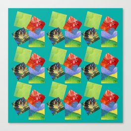 Painted Squares Jiggle - Green Canvas Print