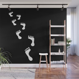 Footprints white and black Design Wall Mural