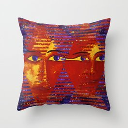 Conundrum III - Abstract Orange and Purple Goddess Throw Pillow