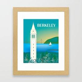 Berkeley, California - Skyline Illustration by Loose Petals Framed Art Print