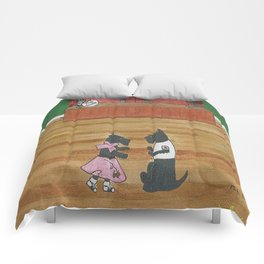 At the Hop-Scotch - Scotties - Scottish Terriers Comforters