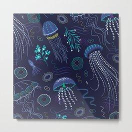 Into the Deep Jellies - Navy Metal Print