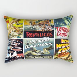 50s Sci-Fi Movie Poster Collage #1 Rectangular Pillow
