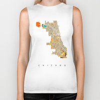 chicago Biker Tanks featuring Chicago by Nicksman