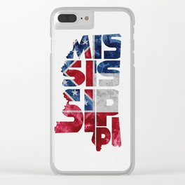 Mississippi Typographic Flag Map Art Clear iPhone Case