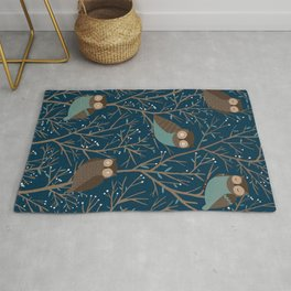 Midnight owls pattern Rug