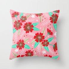 Floral Moths - Pink Throw Pillow