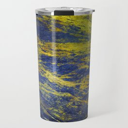 Classic Vintage Blue Faux Marble With Gold Veins Travel Mug