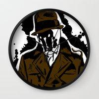 watchmen Wall Clocks featuring  Rorschach (Watchmen) by  Steve Wade ( Swade)