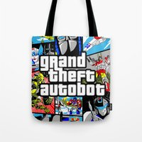 grand theft auto Tote Bags featuring Grand Theft Autobot (GTA G1 Transformers) by Demonlinks