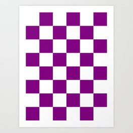 Large Checkered - White and Purple Violet Art Print