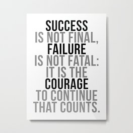 Success Is Not Final, Office Decor, Office Wall Art, Office Art, Office Gifts Metal Print
