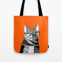 mr fox Tote Bags featuring Mr. Fox by yellow pony