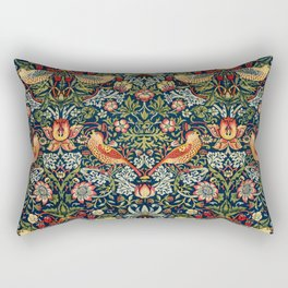 Strawberry Thief by William Morris 1883 Antique Vintage Pattern CC0 Spring Summer Rectangular Pillow