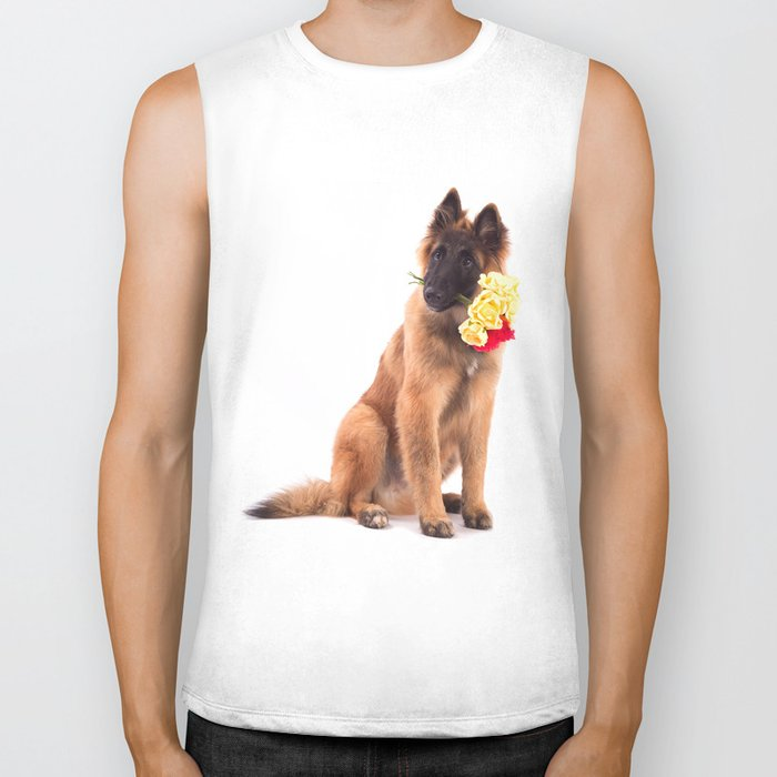 Puppy with roses  Biker Tank