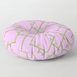 Bamboo Chinoiserie Lattice in Pink + Green Floor Pillow