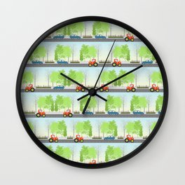 Cars and trees pattern Wall Clock