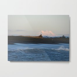 Mt. Rainer and the shoreline Metal Print