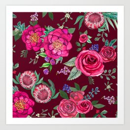 Burgundy Floral Thanksgiving , fall & winter floral in watercolor Art Print