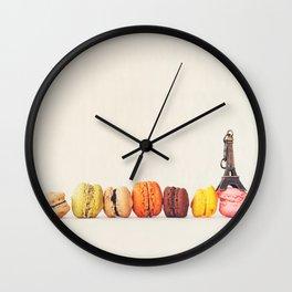Paris, macaron and the eiffel - Vintage version Wall Clock