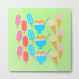 Frozen Treats Print Green Metal Print
