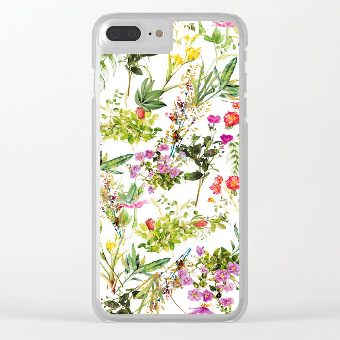 Mix Flowers Clear iPhone Case
