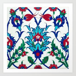 An Ottoman Iznik style floral design pottery polychrome, by Adam Asar, No 38 c Art Print